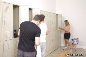 Sarah Jay bombards the locker room with her huge tits