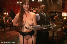 Kristine Kahill and Bella Rossi house slaves serve horny guests