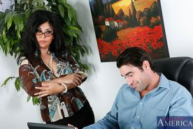 Jaylene Rio takes out her tits for the office to see