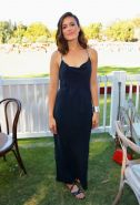 Mandy Moore showing big cleavage in a black maxi dress at Veuve Clicquot Polo Cl