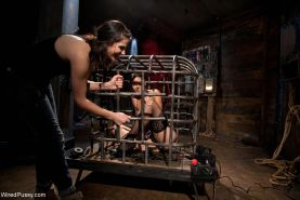 Slave girl gets tied up and tortured with electricity by lezdom