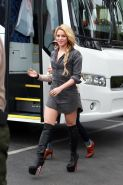 Shakira wearing fuckme boots and shirt on the set of Extra in Universal City