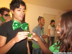 Crazy hot college babes fucked hard in this happy irish day fucking party dorm s