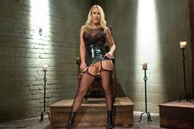 Simone Sonay trains a eager slave with her step daughter Miss Mona Wales both fu