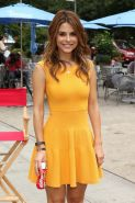 Maria Menounos wearing tight yellow mini dress at Skipperventions Event in New Y
