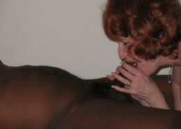 Horny redhead wife blowjob her lover huge black cock