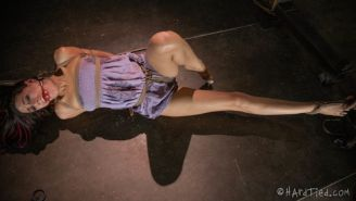 Lyla Storm purple outfit stripped bound in rope with red ballgag made to orgasm