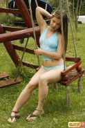 Petite teen with naked small tits teases in funny panties outdoors #71453628