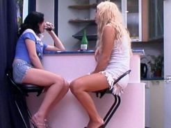 Sexy lesbian girls doing each other in asses with strapon