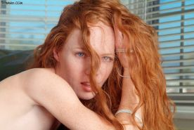 Gorgeous petite freckled redhead spreads her pretty pink pussy
