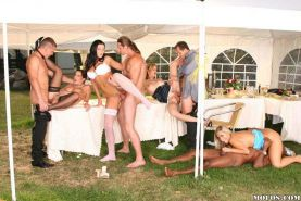 Hot babes in sexy stockings hardcore orgy party outdoors