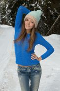 Hot and sexy teen pulls down pants to pee in the snow