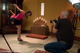 Charley Chase bound babe is dominated and fucked by film crew