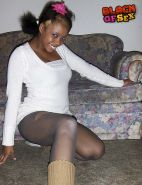 Black girl in pantyhose playing big tits