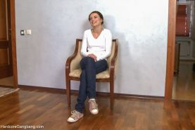 Hardcore gangbang  Russian cutie fucked by 5 guys double anal