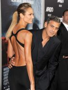 Stacy Keibler in hot backless dress geting groped by George Clooney at Argo prem