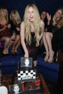 Avril Lavigne showing big cleavage in a tight tube dress at her new album releas #75213879