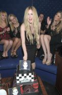 Avril Lavigne showing big cleavage in a tight tube dress at her new album releas #75213906