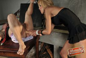 Shemale dresses her man up for kinky fun