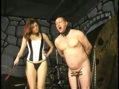 Nude bound older male gets CBT from stunning corset Mistress