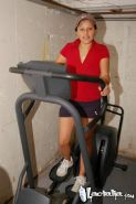 Lactating latina gets distracted while working out