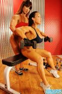 Denise Masino with Alicia with a clit pump in the gym