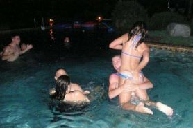 Drunk amateur girls at a wild pool party