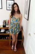 Perky teen tease Bailey peeling off her panties and showing pussy