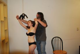 Amateur bondage and extreme boobie whipping of teen slavegirl Samara