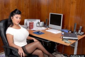 Busty secretary plumper Jaylene Rio teasing and flashing pussy