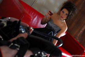 Nasty sissy involves his girl into a strap-on session getting a gaping ass