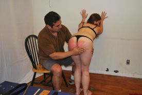 Wooden paddle spanking and bruising corporal punishment of Caras red bottom in d
