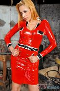 Fuckable redhead shemale in latex