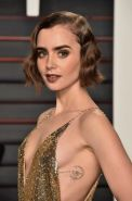 Lily Collins showing sideboob huge cleavage and legs
