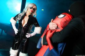 Spiderman fucking busty blonde Mila Milan in doggystyle sex