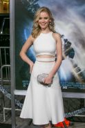 Virginia Gardner busty wearing tight white dress at Project Almanac premiere in