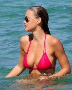 Bar Refaeli posing very sexy in bikini on beach
