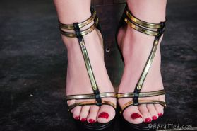 AJ Applegate ballgag blonde is rope bound and spanked by black maledom