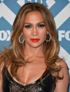 Jennifer Lopez braless wearing black partially see-thru leather  lace dress at 2