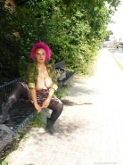 Busty flashing freak Roxys voyeur and upskirt exposure outdoors with pink haired