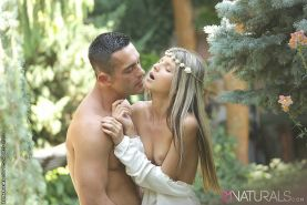 Doris Ivy outdoor blonde slowly strips and gets fucked on the ground