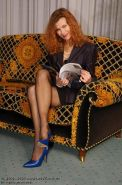 German redhead lady Claire in stockings