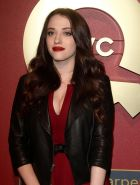 Kat Dennings showing huge cleavage at the QVC 5th Annual Red Carpet Style Event