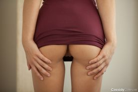 Cassidy Cole Ass And Pussy Upskirts In Burgundy Dress
