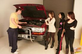 Cocky mechanic gets humiliated by three girls whom laugh at his