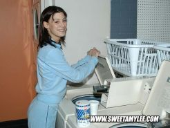 Laundry doing cutie Sweet Amylee looking sweet and innocent