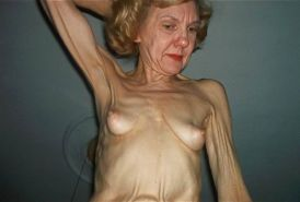 very skinny old amateur granny posing naked