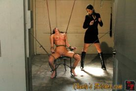 Mistress Amber Rayne with submissive ArielX in bondage straponed