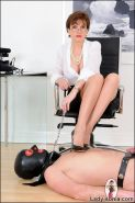 High heels Lady Sonia with nude slave for CBT and trampeling