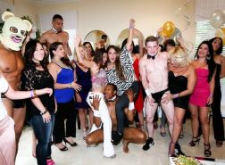 Drunk bitches playing with cocks at sex party
